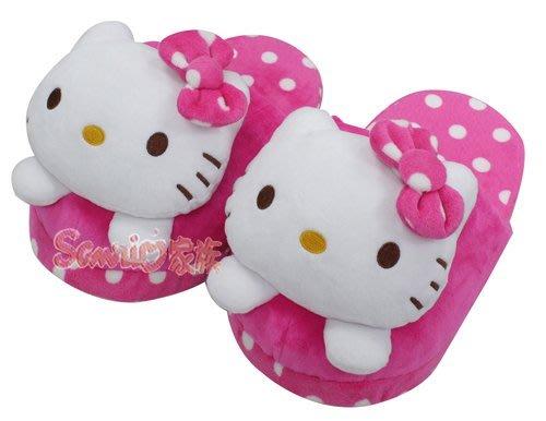《東京家族》 三麗鷗 HELLO KITTY頭型圓點室內絨布拖鞋