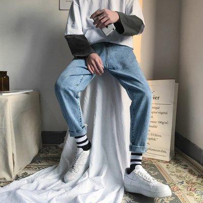 Chita Man + 流行舒適 寬鬆純色 牛仔褲,兩色