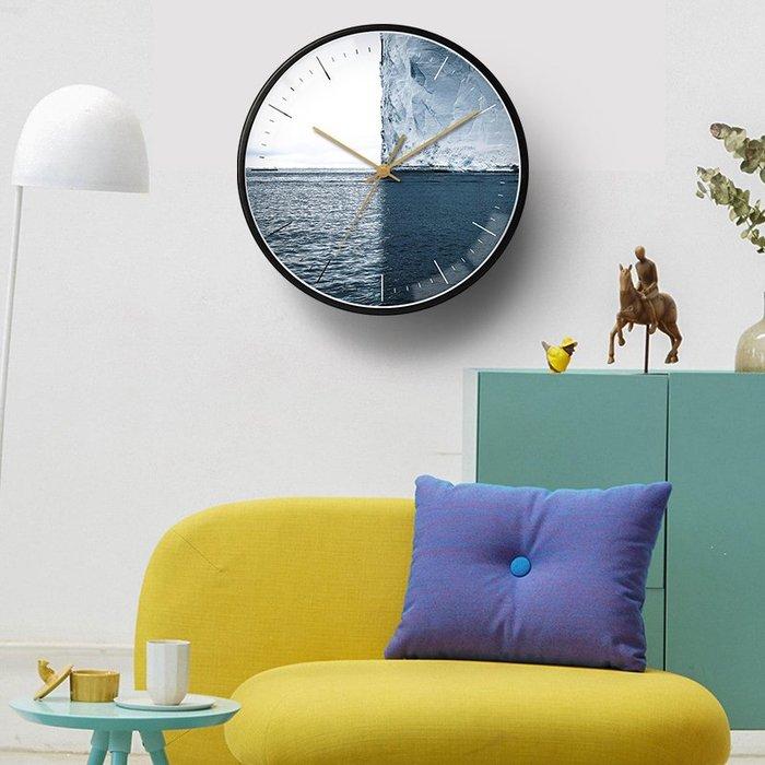〖洋碼頭〗北歐現代簡約時尚掛鐘家用客廳臥室靜音掃秒個性創意大海圖案壁鐘 bhm382