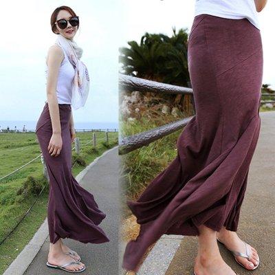 魚尾裙窄裙 設計款斜條紋顯瘦高腰大擺魚尾包臀長裙 艾爾莎【TAK8406】