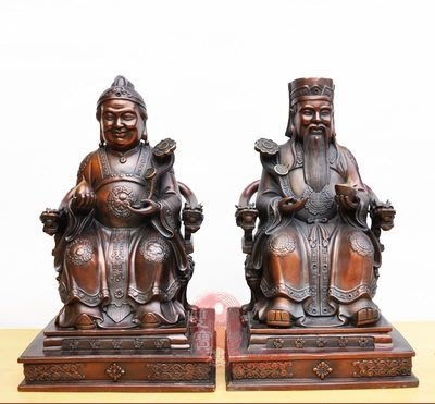 【凡了居】紫色純銅土地公土地婆神像土地爺佛像銅像家居供奉擺件風水招財 雙福679
