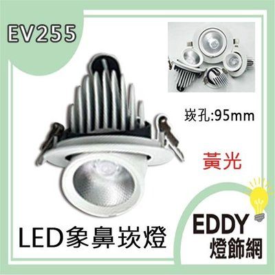 【EDDY燈飾網】 (EV255L)LED-12W象鼻崁燈 崁孔9.5公分 黃光 可調角度 適用於住家.另有吸頂燈