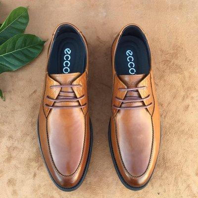 愛步ECCO新款潮流商務男鞋高端時尚男鞋男士皮鞋素面棕色38-44