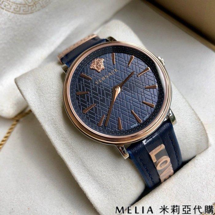 Melia 米莉亞代購 美國代買 VERSACE 8月新品 女款 手錶 LOVE真皮錶帶 瑞士機芯 藍寶石鏡面 藍色