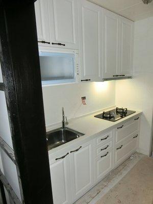*美麗櫥*鄉村風古典ㄧ字型~高雅人造石檯面、新型古典門板廚具210公分+林內三機$62900