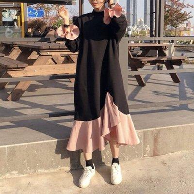 洋裝 韓 不規則荷葉袖撞色寬鬆感遮小肚肚連身裙 艾爾莎【TGK8086】