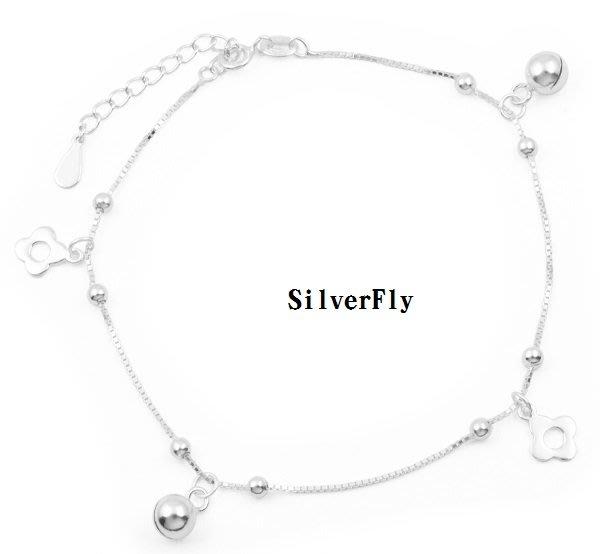 小花朵純銀時尚腳鍊《 SilverFly銀火蟲銀飾 》