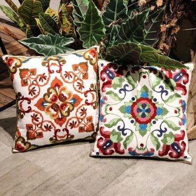 北歐棉麻刺繡花民族風抱枕沙發辦公室床頭腰靠墊套抱枕靠背含芯WY