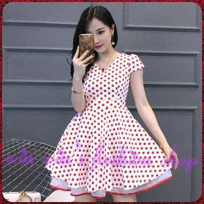 韓系米妮風紅白圓點點波點背蝴蝶結V領洋裝
