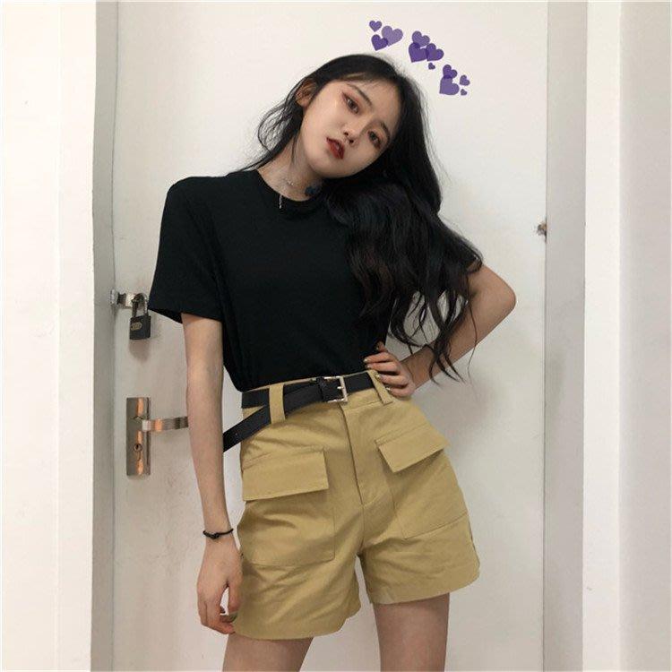 2018新款chic复古高腰时尚百搭日系工装风口袋纯色短裤女配腰带