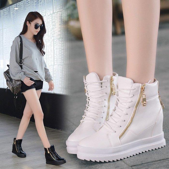 (免運)內增高鞋 高幫鞋女拉鏈松糕厚底女單鞋系帶休閒鞋 [BOOM]
