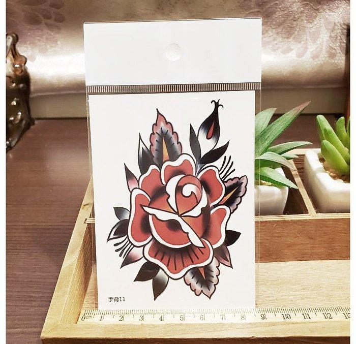 【萌古屋】】紅色花朵 - 手背防水紋身貼紙刺青貼紙11 K12