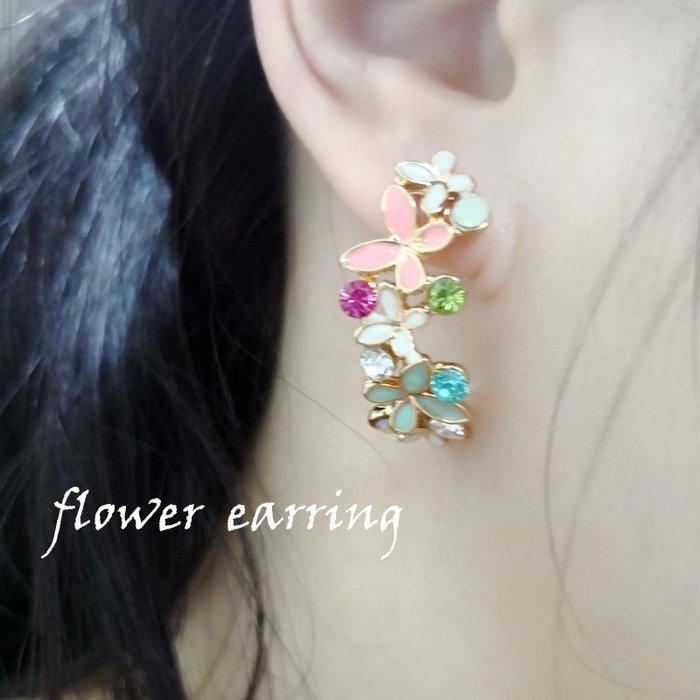 《祕境飾品》日韓流行花環形狀耳環 花朵 雛菊 彩色 夏日 夏天 甜美可愛