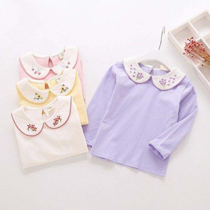現貨 韓版女童純棉刺繡娃娃領長袖T恤18MM280909