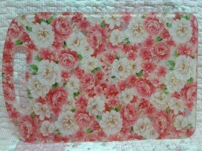 ~愛戀玫瑰園~繽紛粉玫瑰金蔥壓克力抗菌砧板-加大(無毒害不發霉) 新品到……