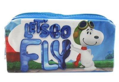 【卡漫迷】 Snoopy 方形 筆袋 飛行員 ㊣版 史努比 Peanut 史奴比 萬用包 化妝包 鉛筆盒 萬用袋 收納包