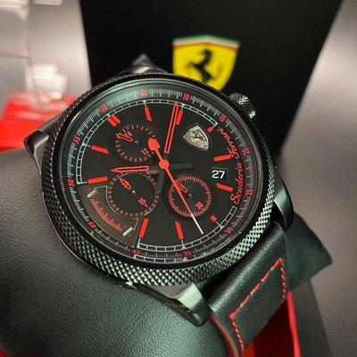 FERRARI法拉利男錶,編號FE00024,48mm黑錶殼,深黑色錶帶款