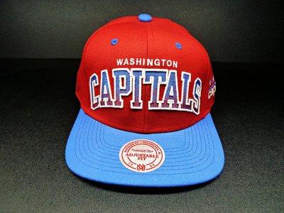 Cover Taiwan 官方直營 Mitchell&Ness NHL 華盛頓 首都隊 Snapback 復古帽 藍 紅
