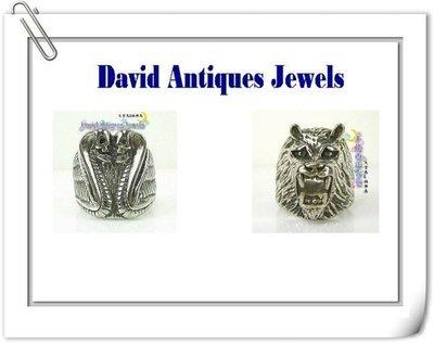 ((天堂鳥)) 925純銀造型戒指一組兩件(骷髏蛇頭&猛虎造型) 不二價