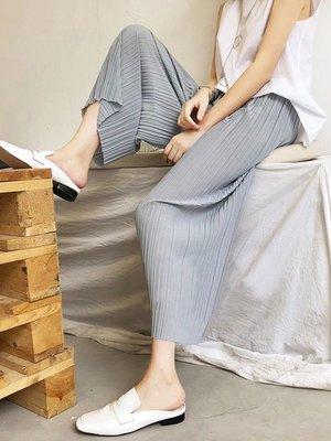 《推薦款》百褶2019雪紡高腰垂感 寬褲 女寬鬆休閒直筒 春夏 褲子 百摺褲