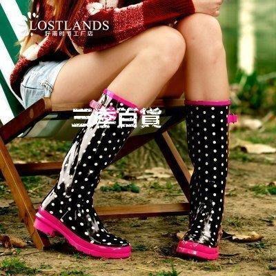 三季LOSTLANDS 帥氣時尚舒適雨鞋 女式雨鞋高筒女士 雨靴 草莓慕斯夏日必備水鞋❖481