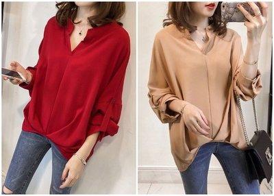 秋季 韓版寬鬆 蝙蝠袖襯衫 七分袖上衣 簡約百搭休閒襯衣 三色 現貨