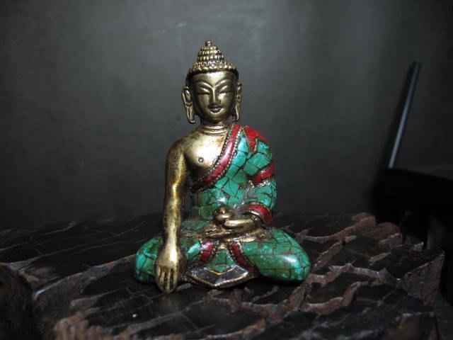 老銅雕◎  西藏綠松  法喜小銅佛