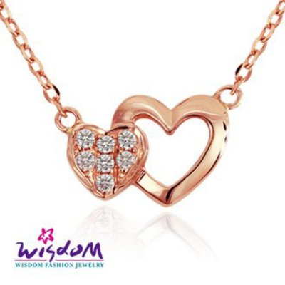 威世登 天然鑽石《心動系列》心心相映 K金小套鍊 足成色14K玫瑰金鑲製-DB01804-3-AIGXX