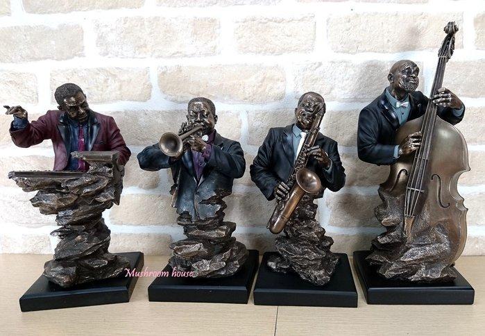 點點蘑菇屋 歐洲精品黑人系列爵士樂隊仿銅雕塑 Jazz樂團雕像 大提琴 薩克斯風 爵士鋼琴 藝術擺飾 現貨 免運費