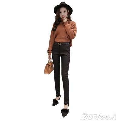 ZIHOPE 5358#休閒黃金絨長褲職業西褲女冬黑色顯瘦加厚西裝小腳褲ZI812