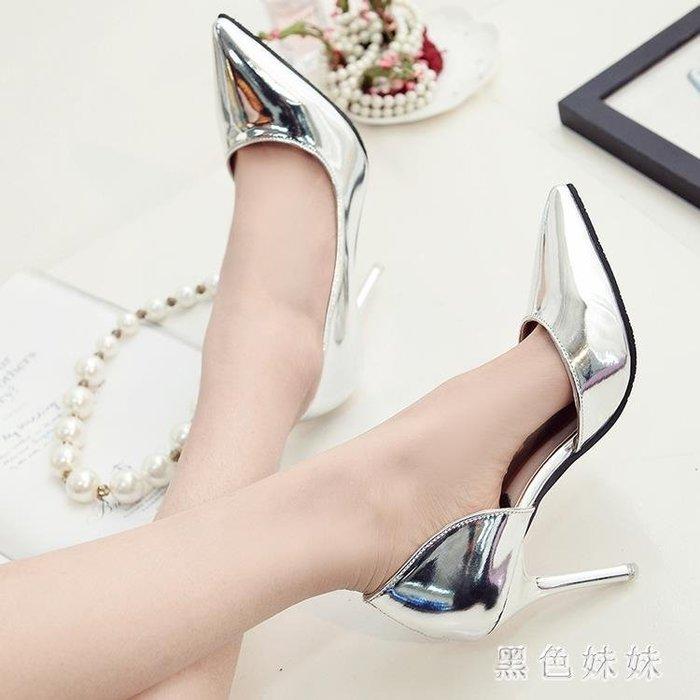 2019新款女士百搭銀色氣質高跟鞋尖頭淺口性感細跟側空單鞋中跟