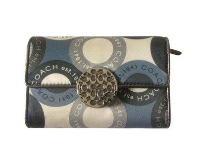 COACH 圓扣設計 緞面多夾層 中夾  展示品