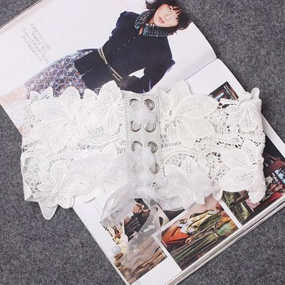 腰帶 蕾絲 腰封-超寬綁帶束腰純色女配件2色73vh36[獨家進口][米蘭精品]