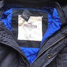 Maple麋鹿小舖 Hollister Co * HCO 深藍配寶藍內裡軍裝風連帽厚外套*( 現貨L號 )