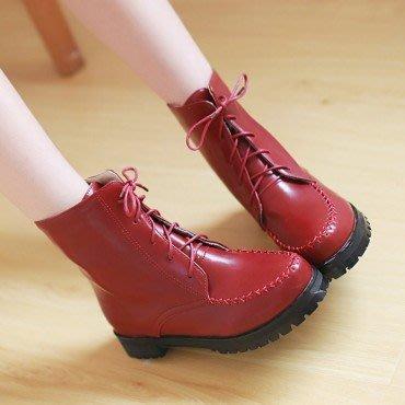 yes99buy加盟-純色系帶粗跟短筒女靴