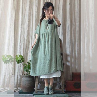 (老銀屋)夏季休閒田園風純棉格紋寬鬆連衣裙