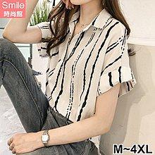【V2563】SMILE-港風韓范.條紋V領寬鬆短袖襯衫上衣