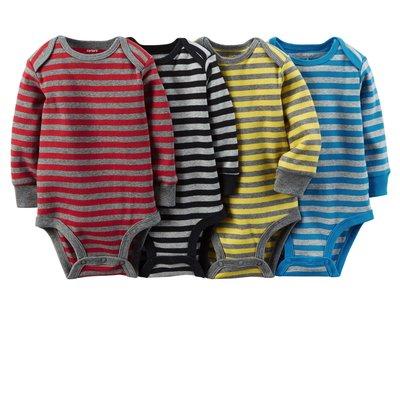 [[W&R]] ((0-24m)) Carter's 四件組條紋長袖包屁衣 6m 4件組