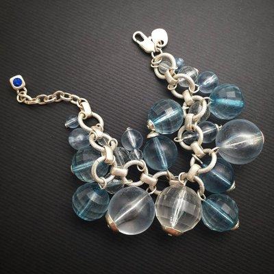 DYRBERG/KERN 藍色 大珠珠 晶鑽 銀鍊 手鍊 來自丹麥的首飾品牌