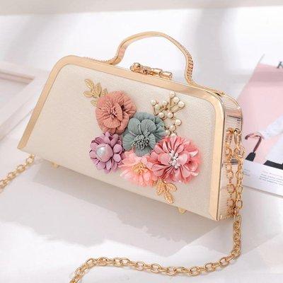 珍珠花朵包晚宴包手拿包小包宴會包錬條包女小方包