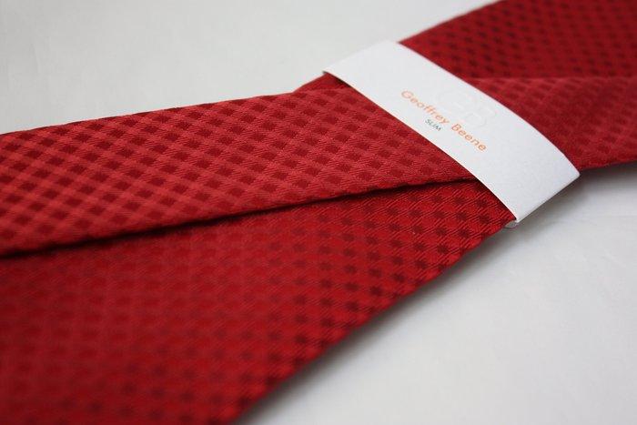 【GEOFFREY BEENE】全新正品 格紋領帶-紅色【窄版7cm】*領帶兩條95折三條9折*GB50