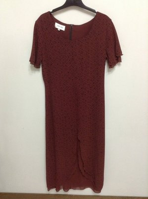 TOP-DO 專櫃 暗紅色短袖長洋裝