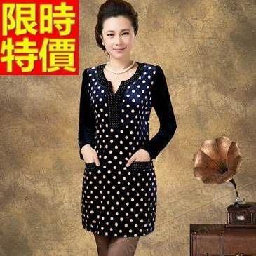 禮服 連身裙-金絲絨圓點修身圓領洋裝2色65aa39[獨家進口][米蘭精品]