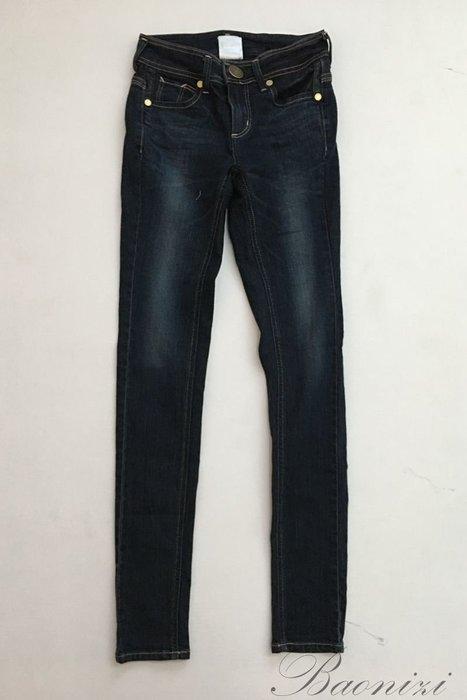 超美SOMETHING  M號深藍 皮革 、貼鑽 裝飾  提臀窄管彈性牛仔褲鉛筆褲AB褲 原價3290元【寶妮子】