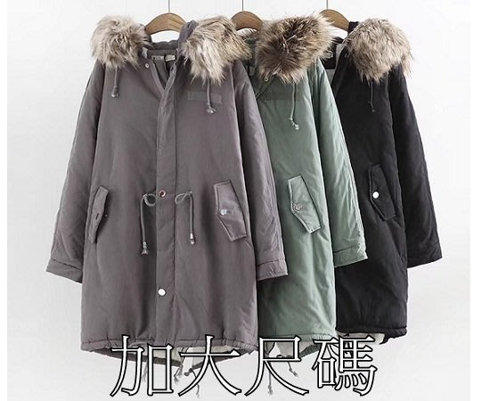 XR77 冬季大碼新款韓版秋冬新款毛領加絨加厚棉衣毛領可脫卸棉服外套XL黑色現貨區