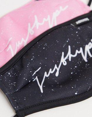 潮牌口罩【歐洲空運】Hype 草寫 (黑色,粉紅色各一) 口罩 一組 可水洗 布口罩 可調節綁帶 非 醫療