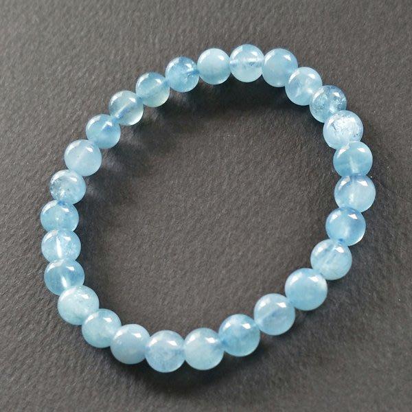 ☆采鑫天然寶石☆ **舒藍** 嚴選海藍寶石(海水藍寶)圓珠手鍊~7.2mm~極美