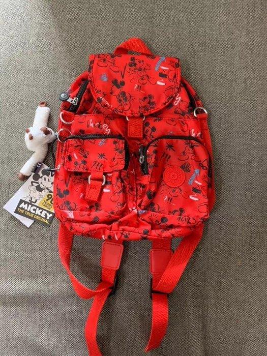 凱莉代購 Kipling x Disney 猴子包 K13108 小款 紅色米奇 迪士尼聯名款 雙肩後背包 可單肩斜背 附調節長背帶 預購
