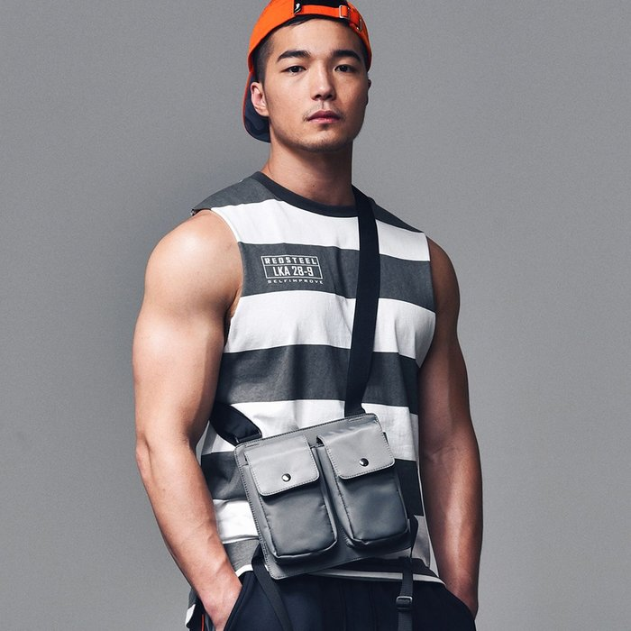 【OTOKO Men's Boutique】固制:赤鐵重磅麻棉條紋背心(台灣獨家代理)