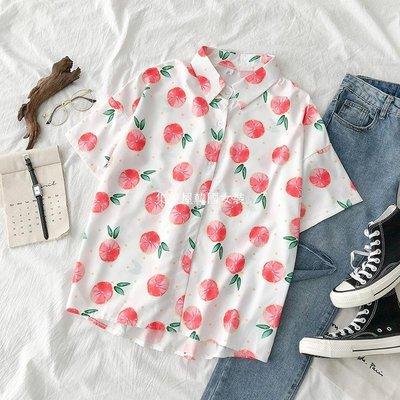集美屋韓國女裝不規則印花襯衫夏季2019新款女裝正韓百搭設計感小眾短袖上衣潮
